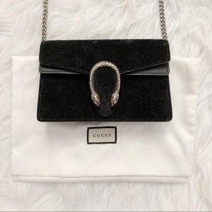 Gucci Dionysus suede velvet black super mini bag